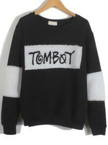 Black Round Neck TomBoy Embroidered Sweatshirt