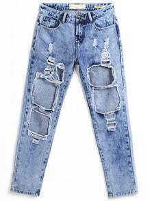 Navy Ripped Bleached Loose Denim Pant