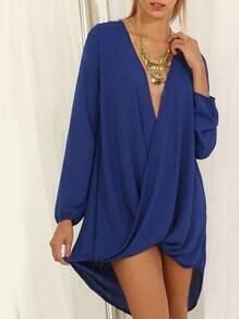 Royal Blue Deep V Neck High Low Dress