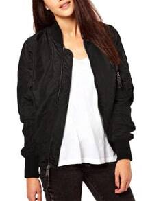 Black Long Sleeve Zipper Loose Jacket