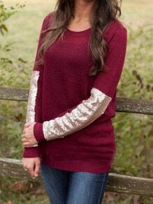 Wine Red Round Neck Sequined Loose Knitwear