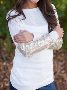 White Round Neck Sequined Loose Knitwear