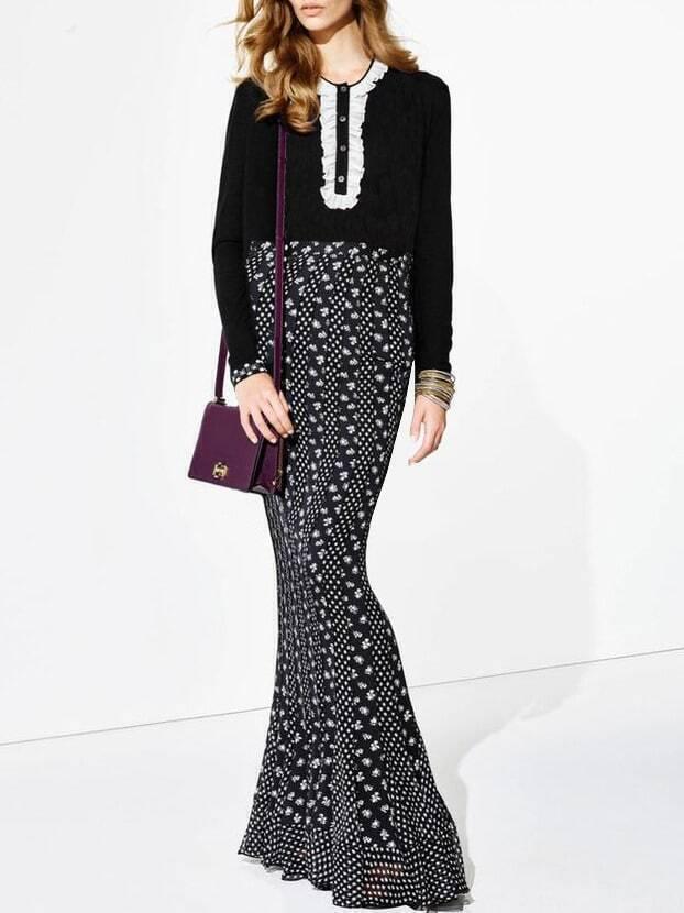 Black Round Neck Long Sleeve Print Dress
