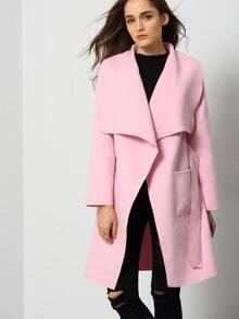 Veste avec poches manche longue -rose