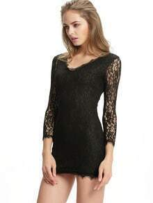 Black V Neck Long Sleeve Bodycon Lace Dress