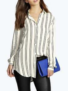 White Lapel Vertical Striped Oversized Blouse