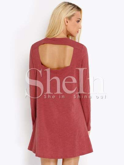 Red Long Sleeve Backless Casual Dress