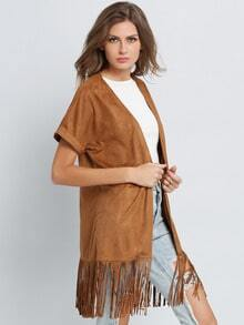 Camel Short Sleeve Tassel Loose Coat
