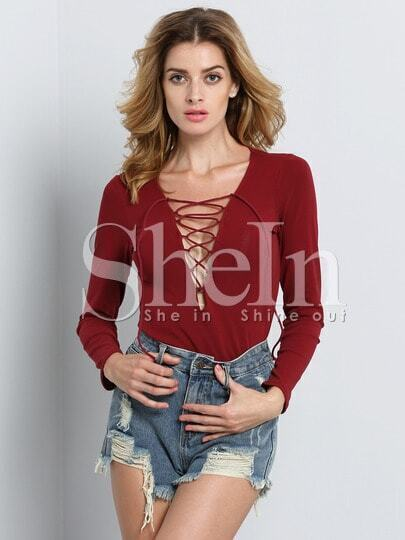 Red Long Sleeve Bandage Slim T-shirt