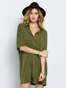 Army Green V Neck Half Sleeve Dress