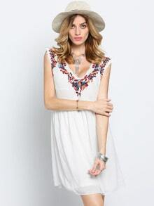 White V Neck Tribal Embroidered Dress