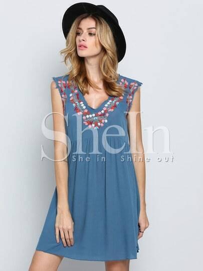 Blue Sleeveless V Neck Tribal Embroidered Dress