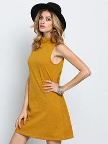 Yellow Sleeveless Casual Dress