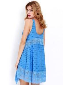 Blue Spaghetti Strap Backless With Lace Dress