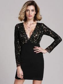 Black Long Sleeve Glamorous Crochet Lace Bodycon Dress