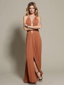 Brown Halter Deep V Neck Backless Maxi Dress