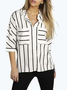 White Striped Buttons Blouse