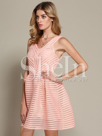Pink V Neck Hollow Flare Dress