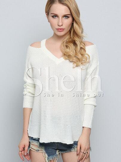 Jersey manga larga hombro al aire -beige