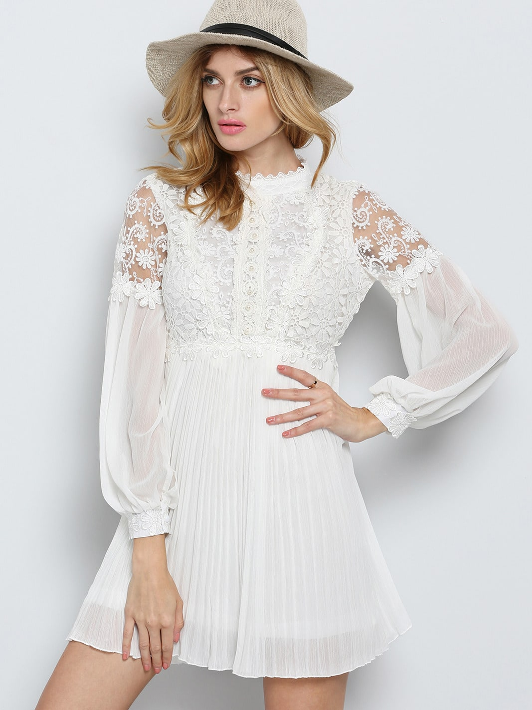 White Long Sleeve Embroidered Bead Lace Dress -SheIn(Sheinside)