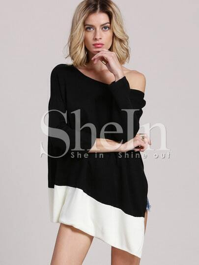 Black White Color Block Asymmetric T-shirt