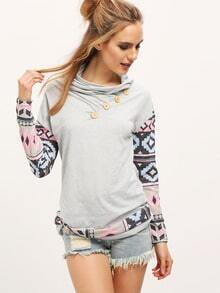 Grey Draped Neck Geometric Print Buttons T-Shirt