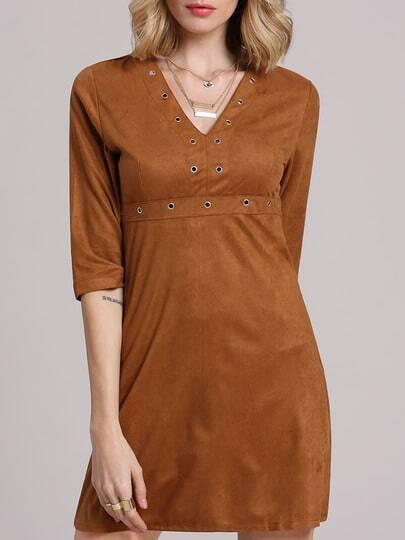 Khaki Deep Plunge A-Line Dress