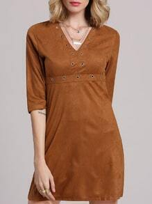 Khaki Deep Plunge A-Line Dress