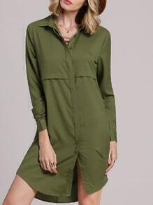 Green Lapel Buttons Shirt Dress
