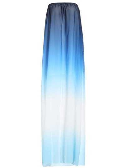 Blue Ombre Strapless Casual Maxi Dress