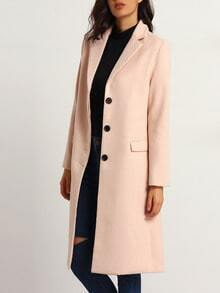 Pink Long Sleeve Lapel Coat