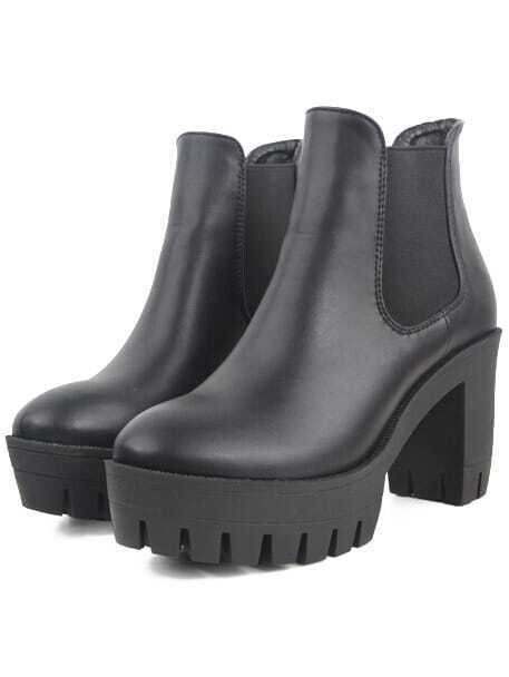 Black Round Toe PU Elastic Chunky Boots