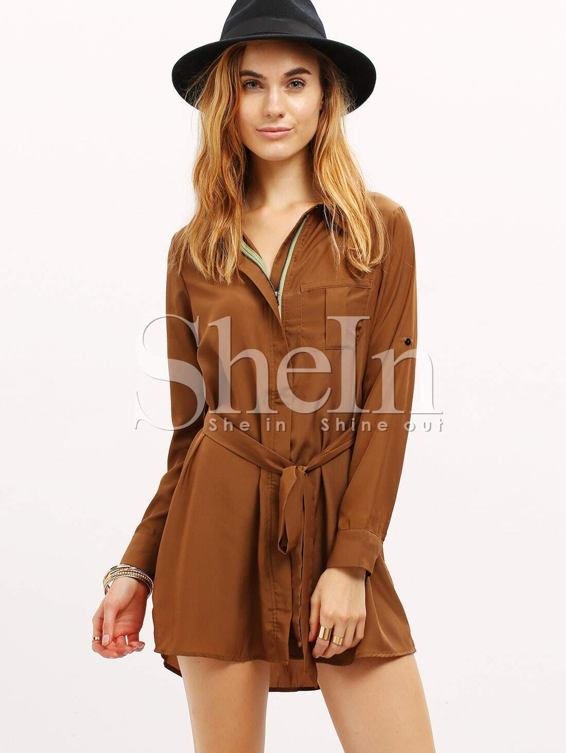 Brown Long Sleeve Lapel Dress