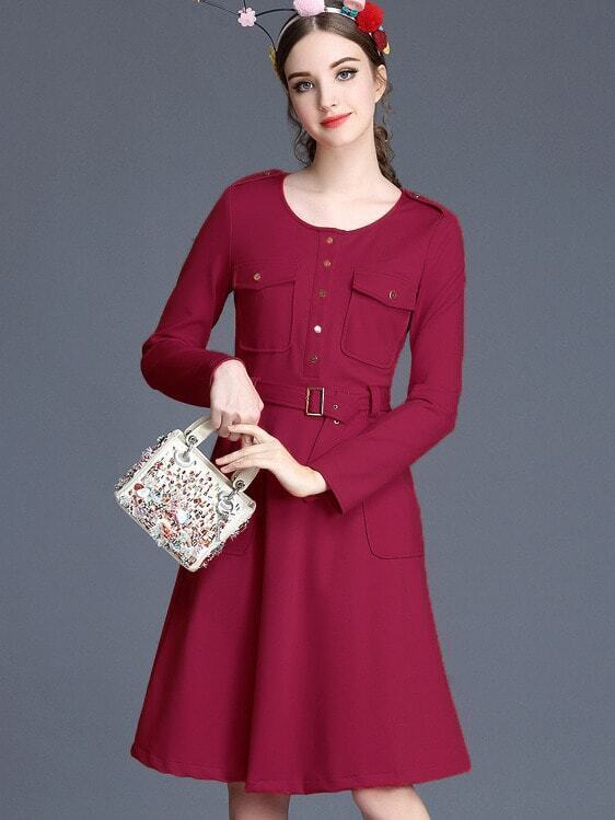 Red Round Neck Long Sleeve Drawstring Pockets Dress
