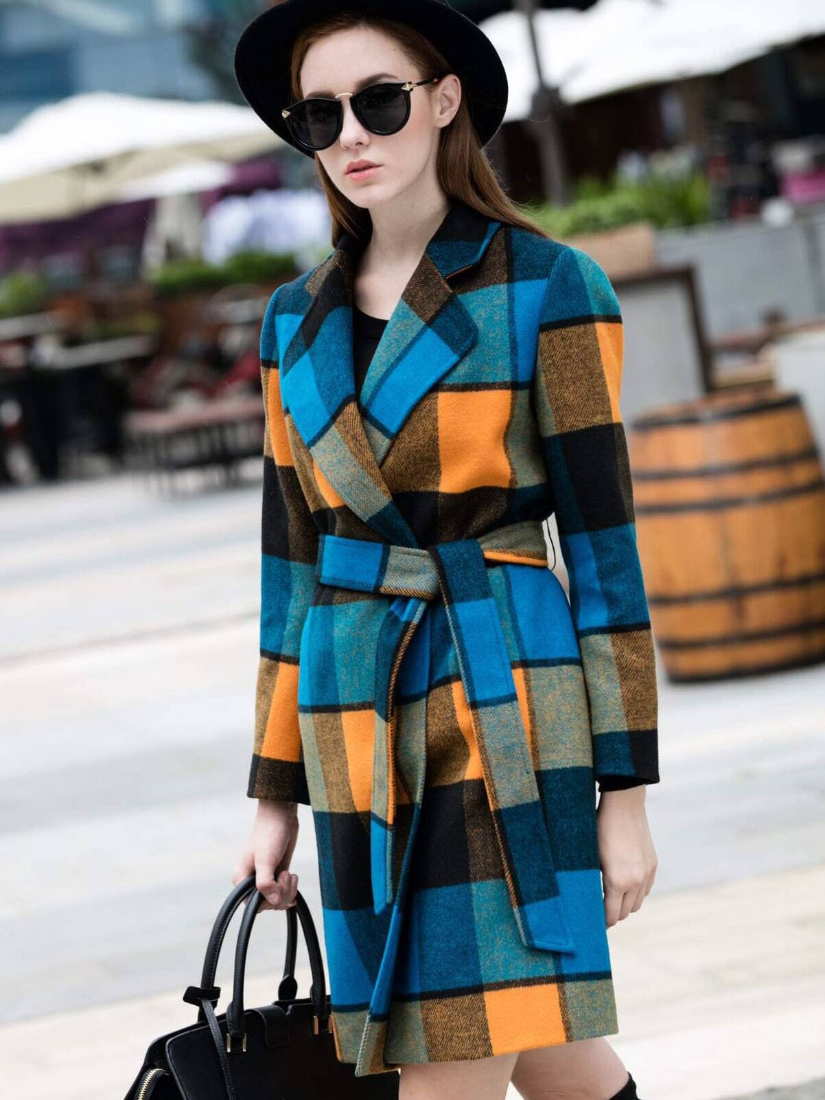 Multicolor Lapel Long Sleeve Tie-Waist Check Print Coat