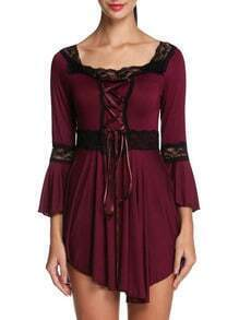 Red Square Neck Lace Bandage Corset Top