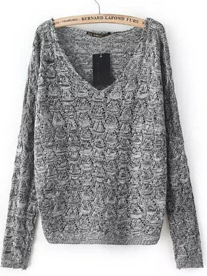 Jersey cuello V manga larga -gris