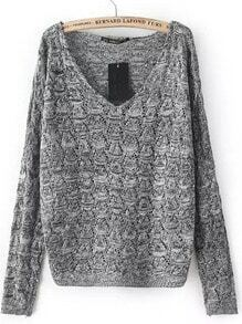 Grey V-neck Dropped Shoulder Long Sleeve Sweater