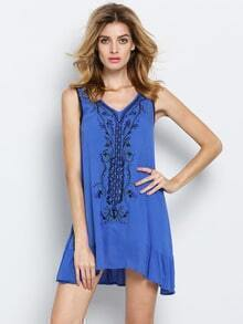 Blue V Neck Sleeveless Embroidered Bead Dress