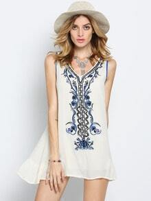 Beige V Neck Sleeveless Embroidered Bead Dress -SheIn(Sheinside)