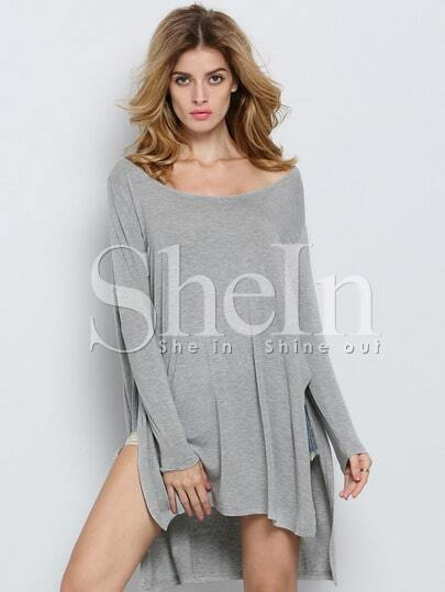 Grey Long Sleeve Asymmetric Loose T-shirt