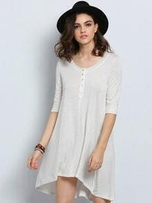 White Round Neck High Low Dress