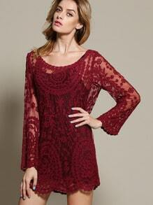 Wine Red Long Sleeve Embroidery Crochet Sheer Shift Dress