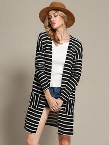 Black White Long Sleeve Striped Knit Cardigan