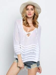 White Long Sleeve Casual Blouse