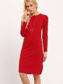 Red Round Neck Long Sleeve Slim Dress