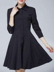 Black Lapel Buttons Shirt Dress