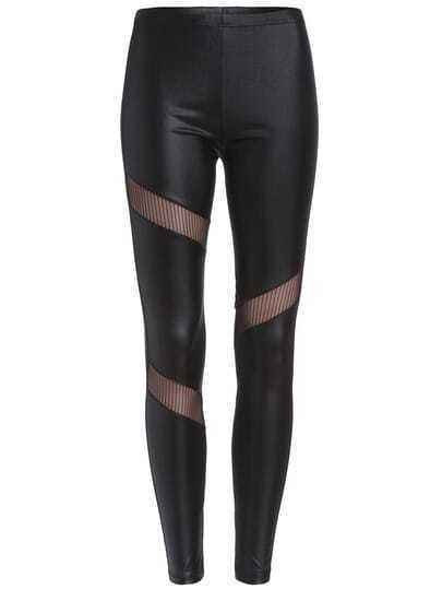 Black Sheer Mesh Slim Leggings