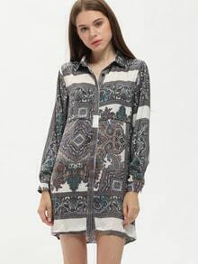 Multicolor Lapel Paisley Print Shirt Dress