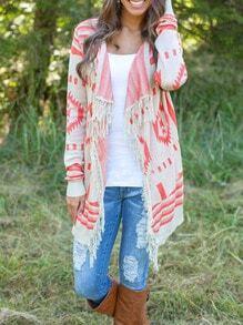 White Long Sleeve Geometric Print Tassel Sweater